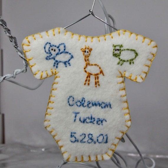 Personalized onesie ornament - Jungle Animals - room decor, keepsake