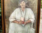 Portrait Oil on Canvas Mid Century Signed