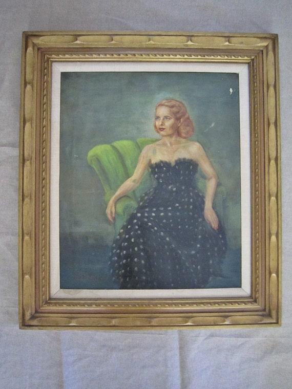 Vintage Oil Portrait Debutante