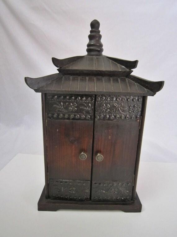 Vintage Wood Hanging Cabinet Pagoda Shape