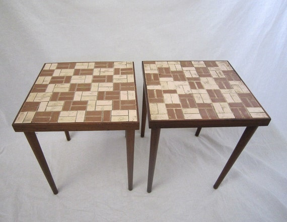 Mid Century Tile Tables Set of 2