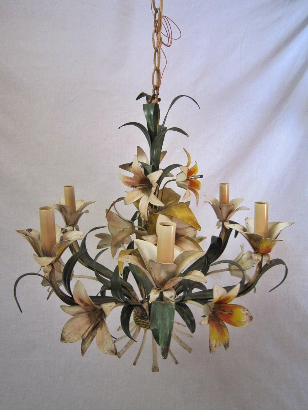 Italian Tole Flower Chandelier