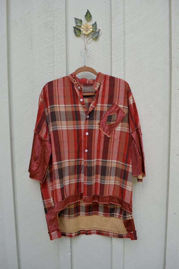 Red tag- Upcycled / Oversized/ Shirt/ Farm Girl Cuteness / One of a kind by Dvoika