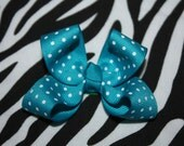 Teal dot small bow