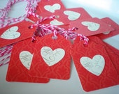 Hearts Favor Tags-Red Paper Tags Set of 16 with Twine