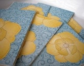 RESERVED Blank Notecard Set of 6-Yellow Flowers on Blue Floral Card