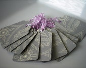 Wedding Themed Silver Paper Tags with Lilac and White Bakers Twine-Set of 12