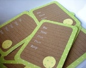 SALE Blank Invitation Set of 10 Cards in Light Green and Yellow Polka Dots with Kraft Paper