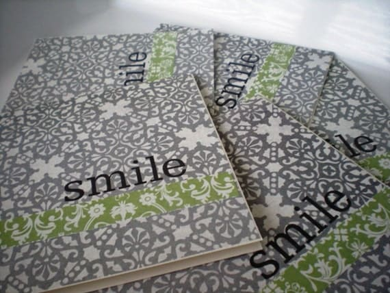 Smile Blue and Green  Blank Notecard Set of 5-Hand Stamped with Envelopes