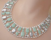 mint green necklace painted rhinestone Minted collar