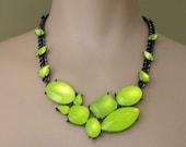 neon jewelry painted rhinestone necklace Neon Mosaic Yellow Glow