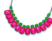 neon jewelry painted rhinestone necklace Candy Collar watermelon pink lime