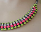 neon jewelry painted rhinestone necklace Candy Dots Collar pink and neon yellow
