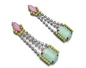 neon earrings geometric deco The Fontaine in mint green