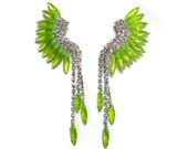 neon earrings painted rhinestone Acid Green-Yellow Mohawk