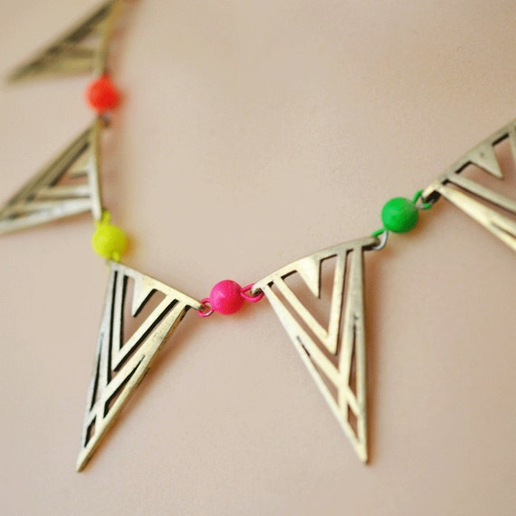 neon necklace geometric triangle banner Deco Tribal REVERSIBLE
