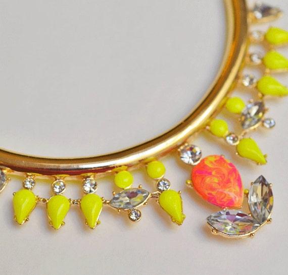 neon jewelry painted rhinestone necklace Neon City Swirl Collar yellow pink orange