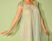 Vintage Night Gown in Light Blue - Sheer and Thin with Lace - 1950s 1960s House Wife Nightie Pajamas