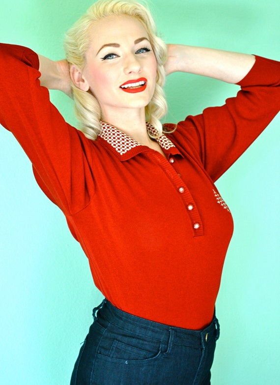 Vintage 1950s 1960s Pinup Rockabilly Uniform Sweater w/ rhinestone buttons