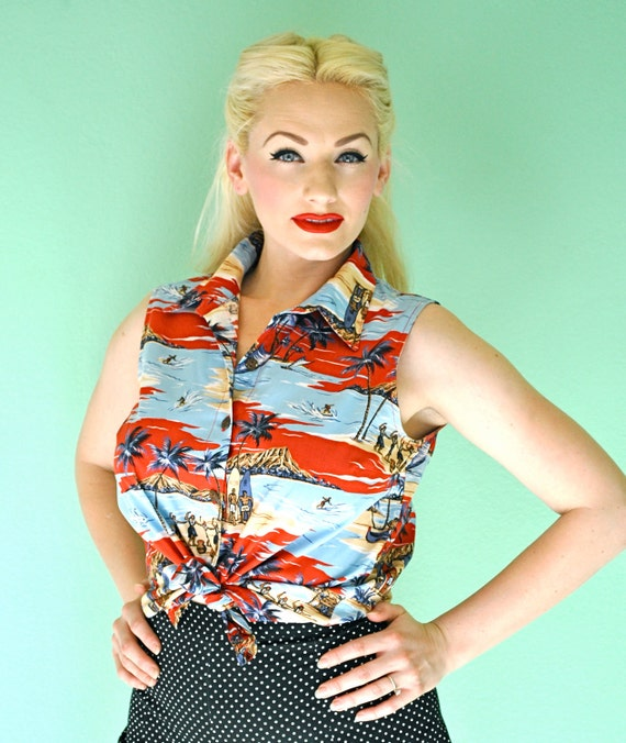 Vintage Hawaiian Tropical Pinup Rockabilly 1960s Style Beach Party Blouse
