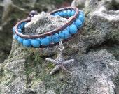 Starfish Wrap Bracelet, Leather Wrap Bracelets, Silver Charm Bracelet, Turquoise Beaded, Ocean Theme