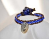 Sterling Silver Chinese Love Symbol Leather Wrap Bracelet, Blue Tigers Eye Beads, Genuine Leather