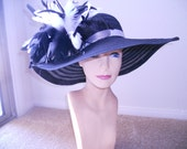 Derby Hat church hat dress hat church hat with black and white cascade of feathers wide brim floppy