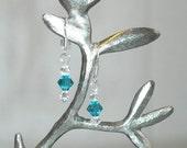 Handmade Teal & Clear Swarovski Crystal Earrings