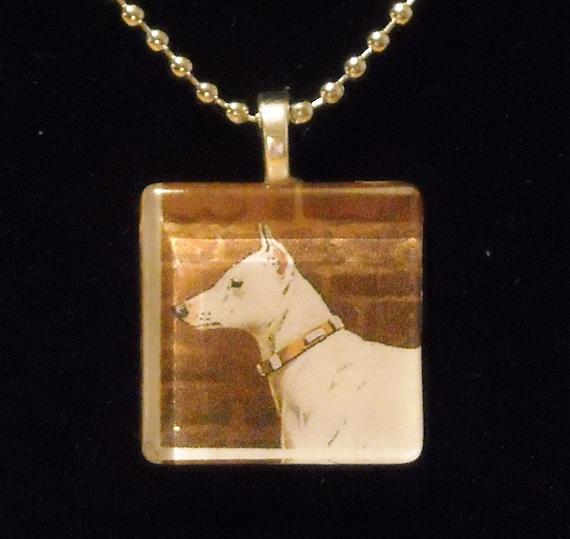 Victorian White Bull Terrier Glass Tile Necklace