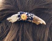 Wood & Button Hair Clip