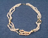Triple Strand Rose Quartz Coral and Jade Necklace