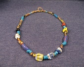 Native American Trade Bead Necklace, Glass Beads, Chunky, Jewelry