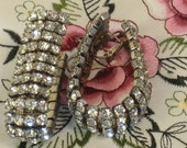 1980s Rhinestone Earrings, Pierced Ears, Costume Jewelry, for Women