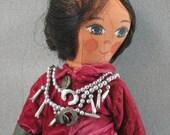 Handmade Native American Art Doll, Handpainted