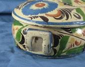 MEXICAN POTTERY Lidded Casserole, Blue Floral Pattern, Terra Cotta Pottery