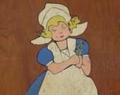 Dutch Girl Wooden Cutting Board, Handpainted, Vintage, Kitchen Decor