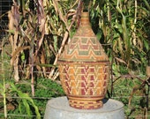 Colorful African LIdded Basket, Tall African Basket with Lid, Home Decor