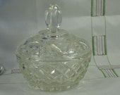 Lidded Glass Jar, Crystal, Pressed Glass, Home Decor