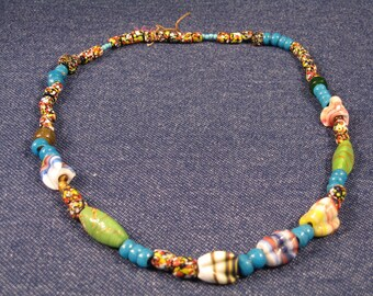Native American Glass TRADE BEADS, Necklace Art Glass Beaded Necklace