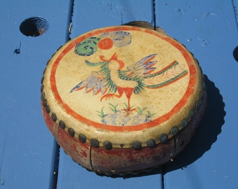 Handpainted, Chinese,  Leather Drum, Folk Art, Home Decor, Musical Instrument