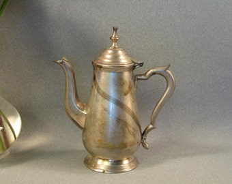 Small Lidded Silver Plate Teapot, Shabby Chic