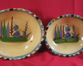 Mexican Pottery Bowls, Set of 2, Blue Birds, Bird, Colorful Scalloped Edge