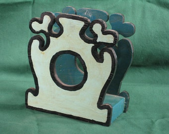 Vintage Wooden Folk Art Napkin Holder, Hand Made, Teal Aqua, Hand Painted