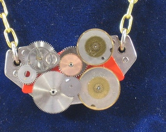Womens Necklace, Steampunk, Red Rare Earth Magnet, Handmade, Geekery, Upcycled, Computers and Clocks