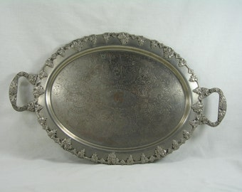 Silver Ornate Handled Serving Tray decorated with Grape Clusters
