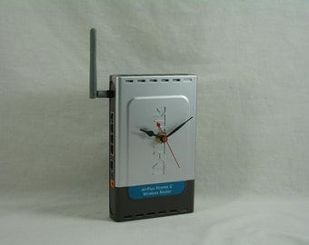Upcycled D-Link Air Plus Xtreme G Wireless Router Desk Clock, Geekery, Clocks by DanO