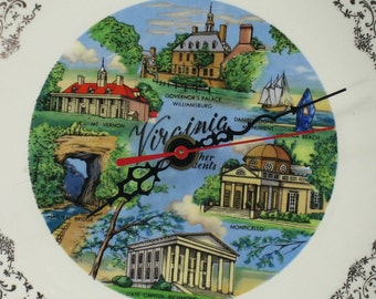 Wall Clock made from Upcycled Virginia Travel Souvenir Plate, Geekery Clocks, Home Decor