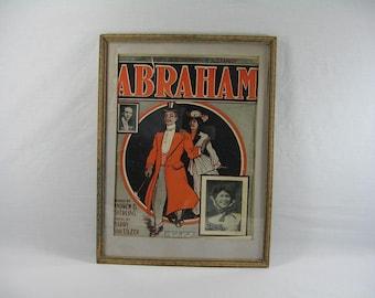 Vintage, Abraham, Sheet Music, Framed Wall Art, Black Americana, Collectible