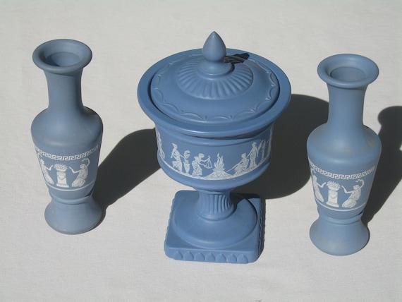 Avon WEDGEWOOD Blue Lidded Jar and Two Bud Vases