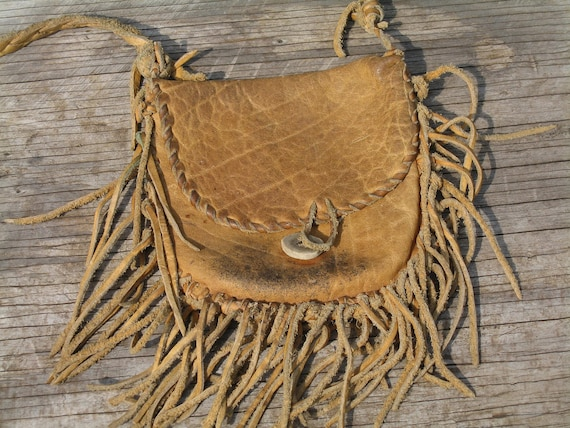Vintage Leather Fringed Purse Womens Fashion Accessories Hippie Chick Gift, Free Priority Shipping Included